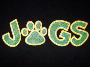 Athletic Gold, White, Green and our sparkle overlay on black shirt